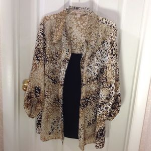 White Stag Animal Print Blouse